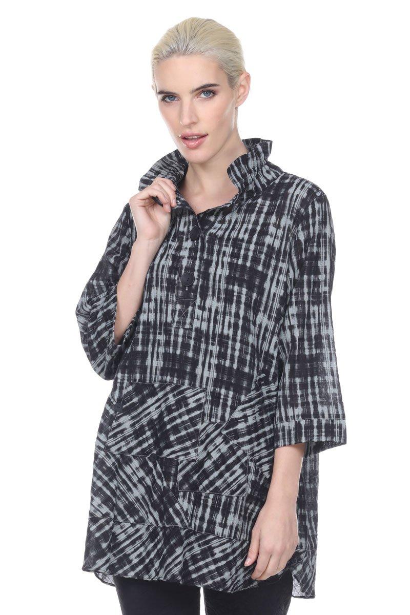 Terra-SJ Apparel Women's 3/4 Sleeve Blouse with Convertible Collar (Medium, Black/Ivory) by Terra-Sj Apparel