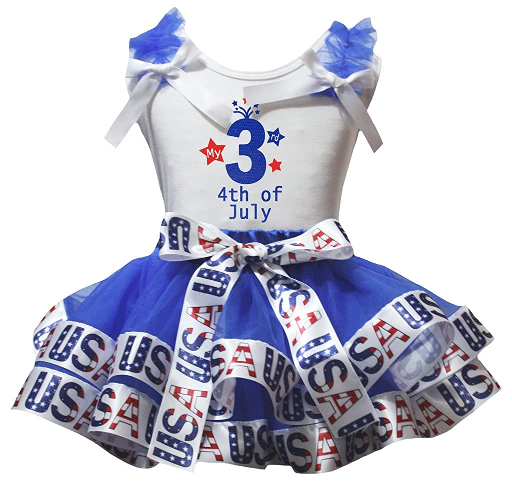 Petitebella My 3rd 4th of July White Shirt USA Blue Petal Skirt Set Nb-8y