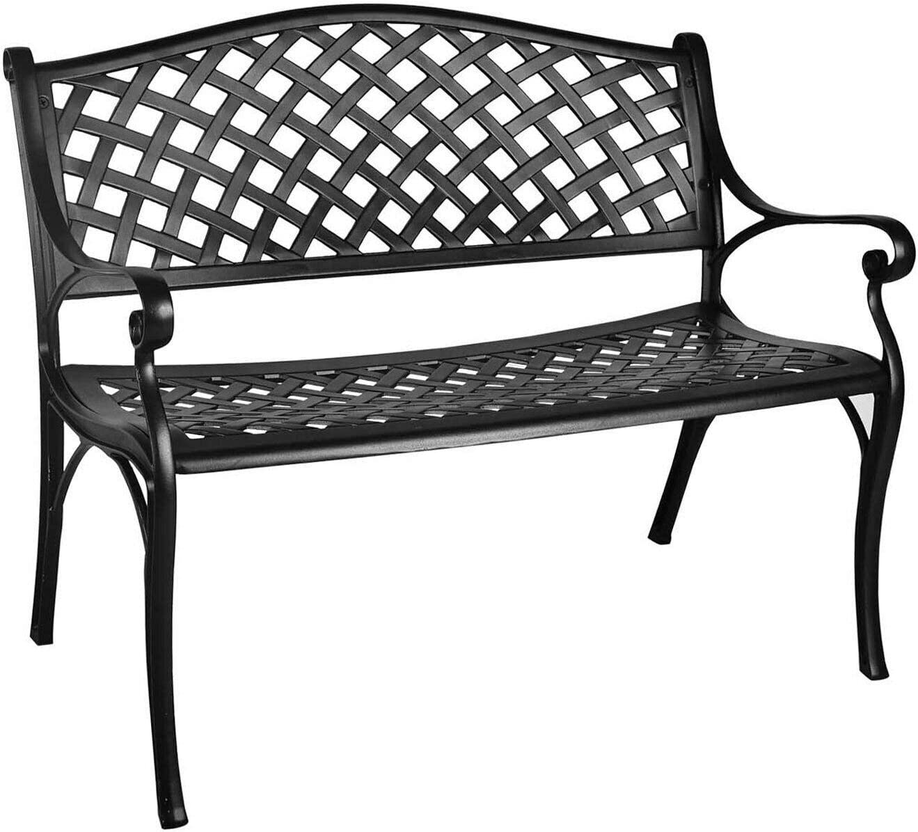 Outdoor Patio Garden Bench Park Loveseat Chair All-Weather Cast Aluminum-Garden Bench-Outdoor Bench with Back-Bench for Outside-Bench Patio-Wooden Benches Outdoor-Outdoor Garden Benches