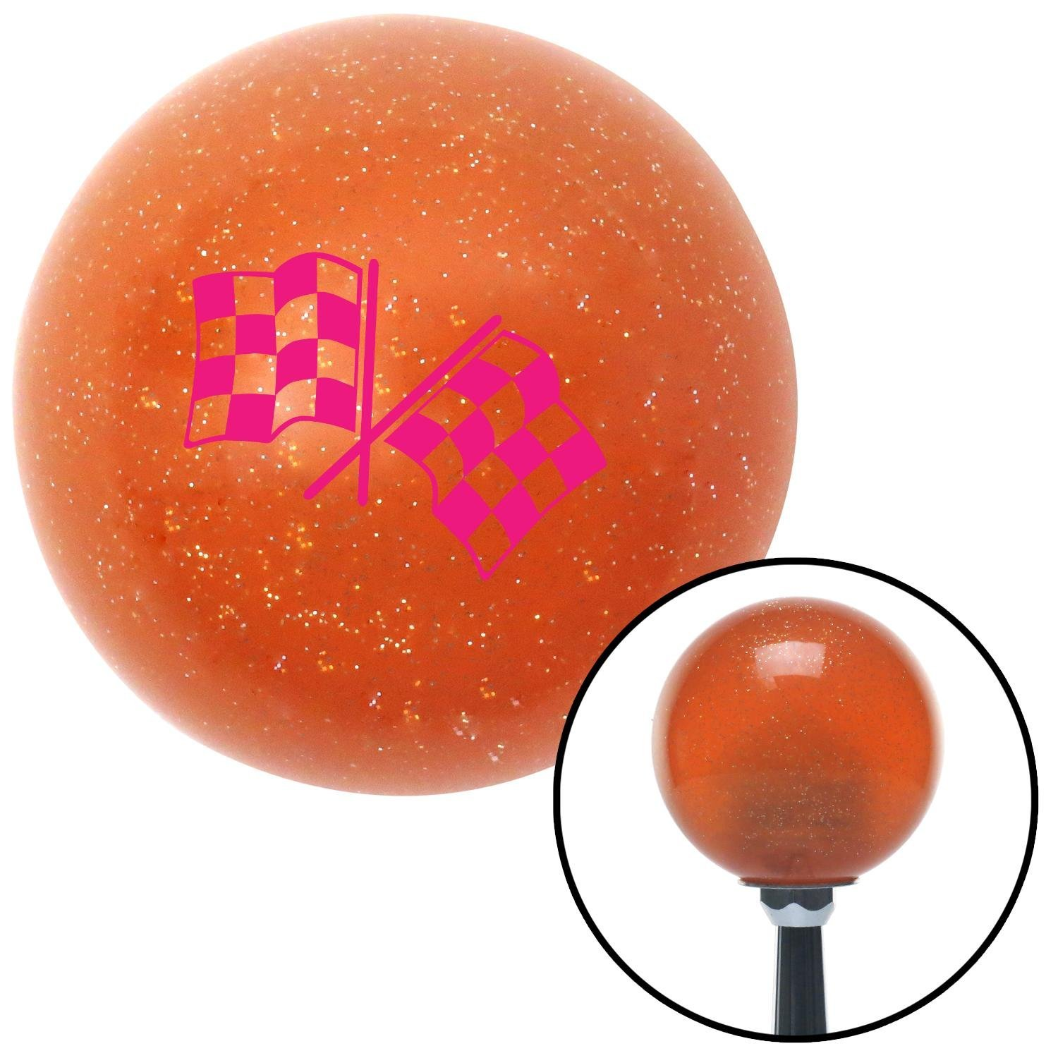 Pink Dual Checkered Flags American Shifter 36788 Orange Metal Flake Shift Knob with 16mm x 1.5mm Insert