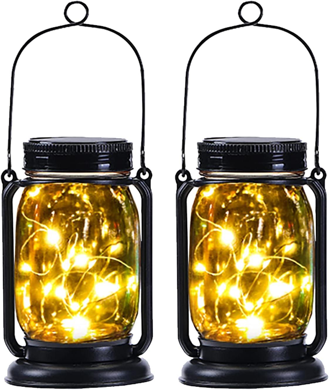 2 Pack Yeuago Mason Jar Solar Lights Outdoor Hanging Waterproof Solar Lantern with 30 Led String Lights Retro Design for Patio, Yard, Garden and Pathway Decoration ( Warm Light )