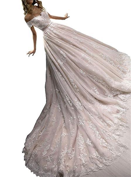 43a116f77849 Changjie Donna Abito da Sposa Appliques in Pizzo Vestito da Sposa 2019   Amazon.it  Abbigliamento
