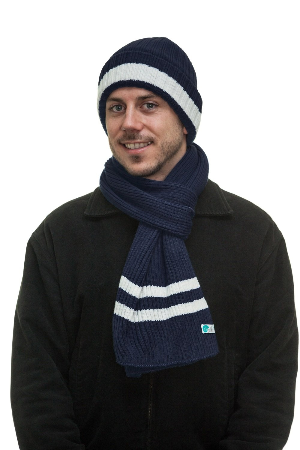 Men's Two-Toned 3M Fleece Thinsulate Ribbed Knit Scarf and Hat Set GS-HSC21-BlackCharcoal
