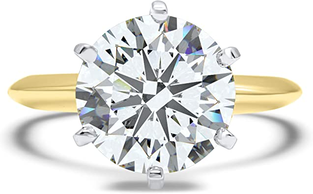 Eternal Jewelry Cz Ring Round Yellow Gold Wedding Engagement Heavy Band 14k Cubic Zirconia Swarovski Simulant Solitaire 6 Prong 3ct Amazon Com