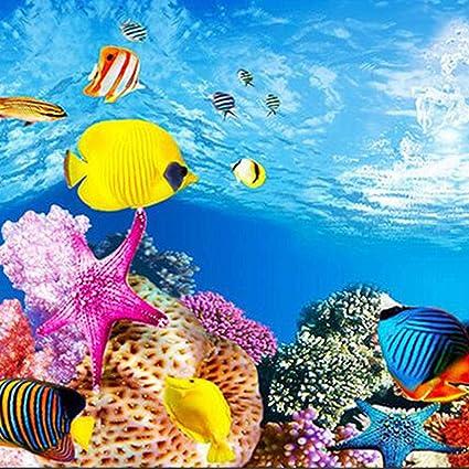SODIAL Imagen HD del Papel de Fondo del Acuario Papel Pintado de Tanque de pez Tridimensional