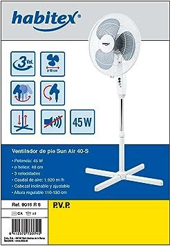 Habitex 9016R8 - Ventilador De Pie Aspas 40 Cm Ha: Amazon.es ...