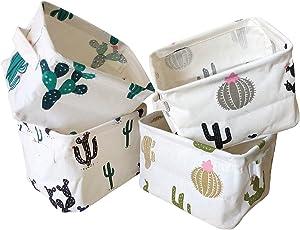 Storage Bins Foldable Cactus Storage Basket for Nursery, Kids Toys, Makeup, Small Items, Desktop Organization, Set of 4 (Cream)