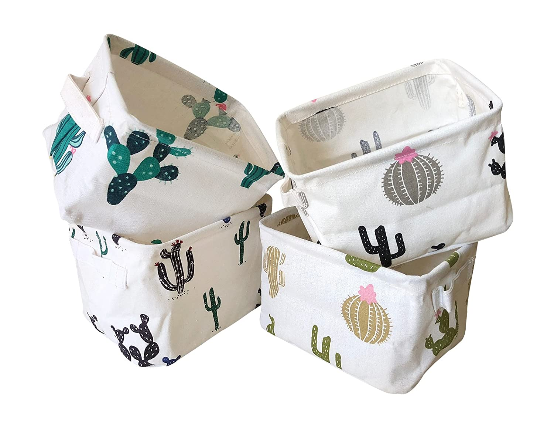 Storage Bins Foldable Cactus Storage Basket for Nursery, Kids Toys, Makeup, Small Items, Desktop Organization, Set of 4 (Cream) Storage Bin Basket