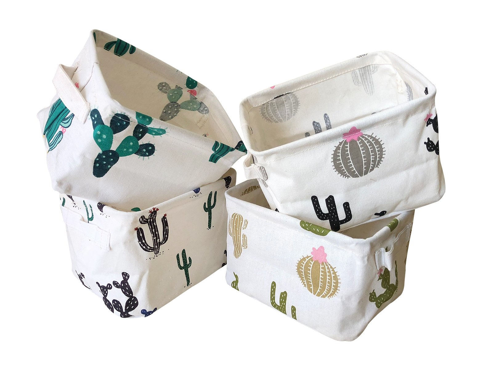 Storage Bins Foldable Cactus Storage Basket for Nursery, Kids Toys, Makeup, Small Items, Desktop Organization, Set of 4 (Cream)