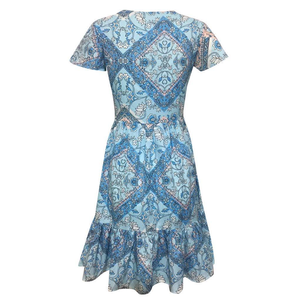 Alangbudu Womens Deep V Neck Cap Sleeve Pleated Loose Swing Casual Mini Dress Knee Length A Line Dress