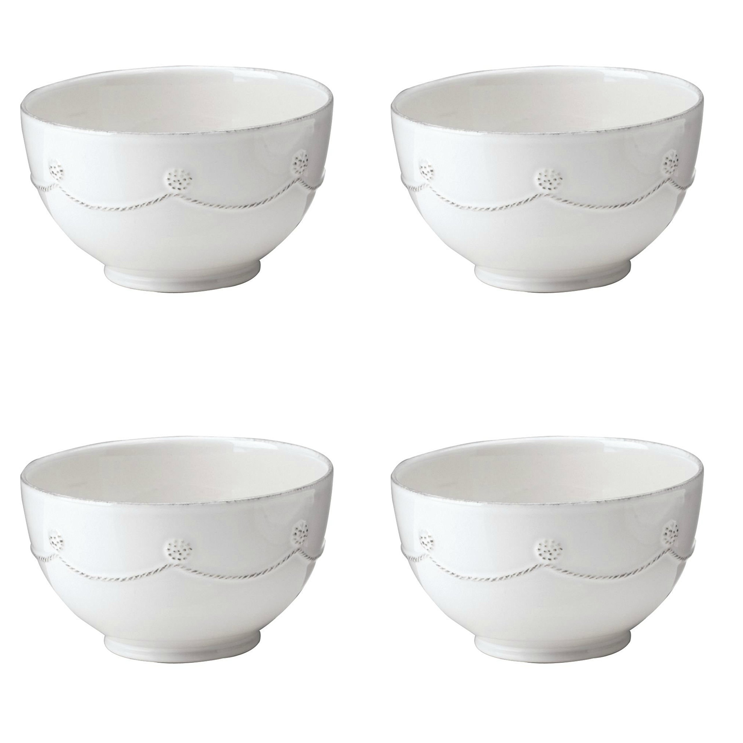 Berry and Thread Round Cereal / Ice Cream Bowl by Juliska - Whitewash Set of 4