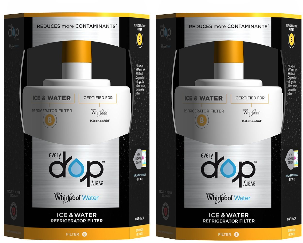 EveryDrop by Whirlpool Refrigerator Water Filter 8 (Pack of 2)