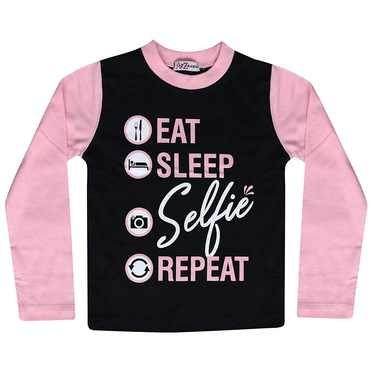 76d8dccff Amazon.com  Kids Girls Boys Pyjamas Designer Eat Sleep Selfie Repeat ...
