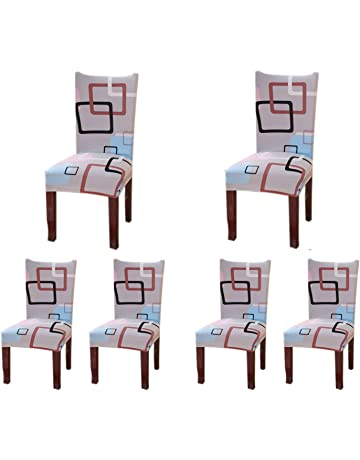 SoulFeel 6 x Soft Spandex Fit Stretch Short Dining Room Chair Covers with  Printed Pattern 064aebda3
