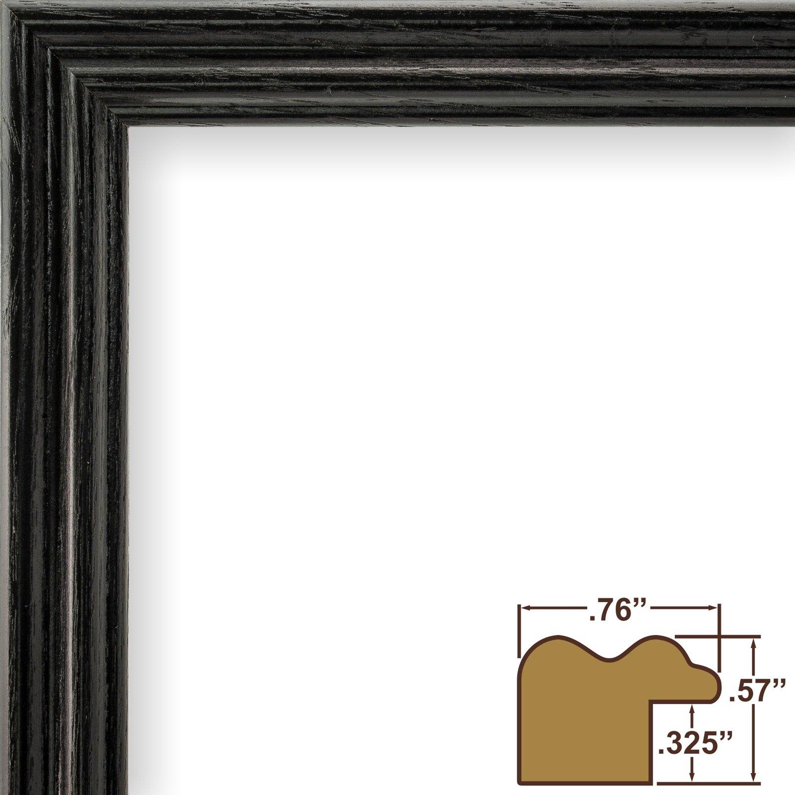 Craig Frames 200ASHBK 16 by 20-Inch Picture Frame, Wood Grain Finish, .75-Inch Wide, Black by Craig Frames