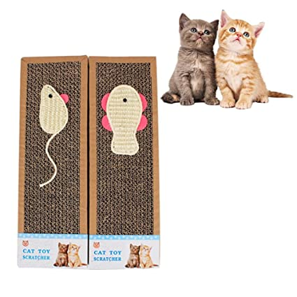 2pcs Rascador para gatos Tabla reciclable kratzpad Sisal Cat Scratch tarjeta Rascador para el cuidado garra