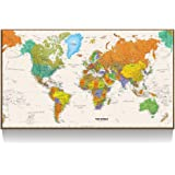Amazon canvas print wall art rand mcnally classic world map kreative arts large size world map wall art natural framed art print picture wall decor gumiabroncs Image collections