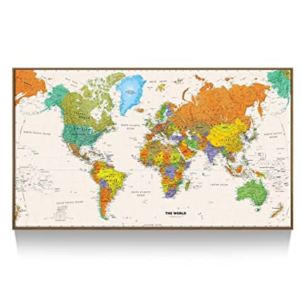 Kreative Arts Large Size World Map Wall Art   Natural Framed Art Print  Picture Wall Decor