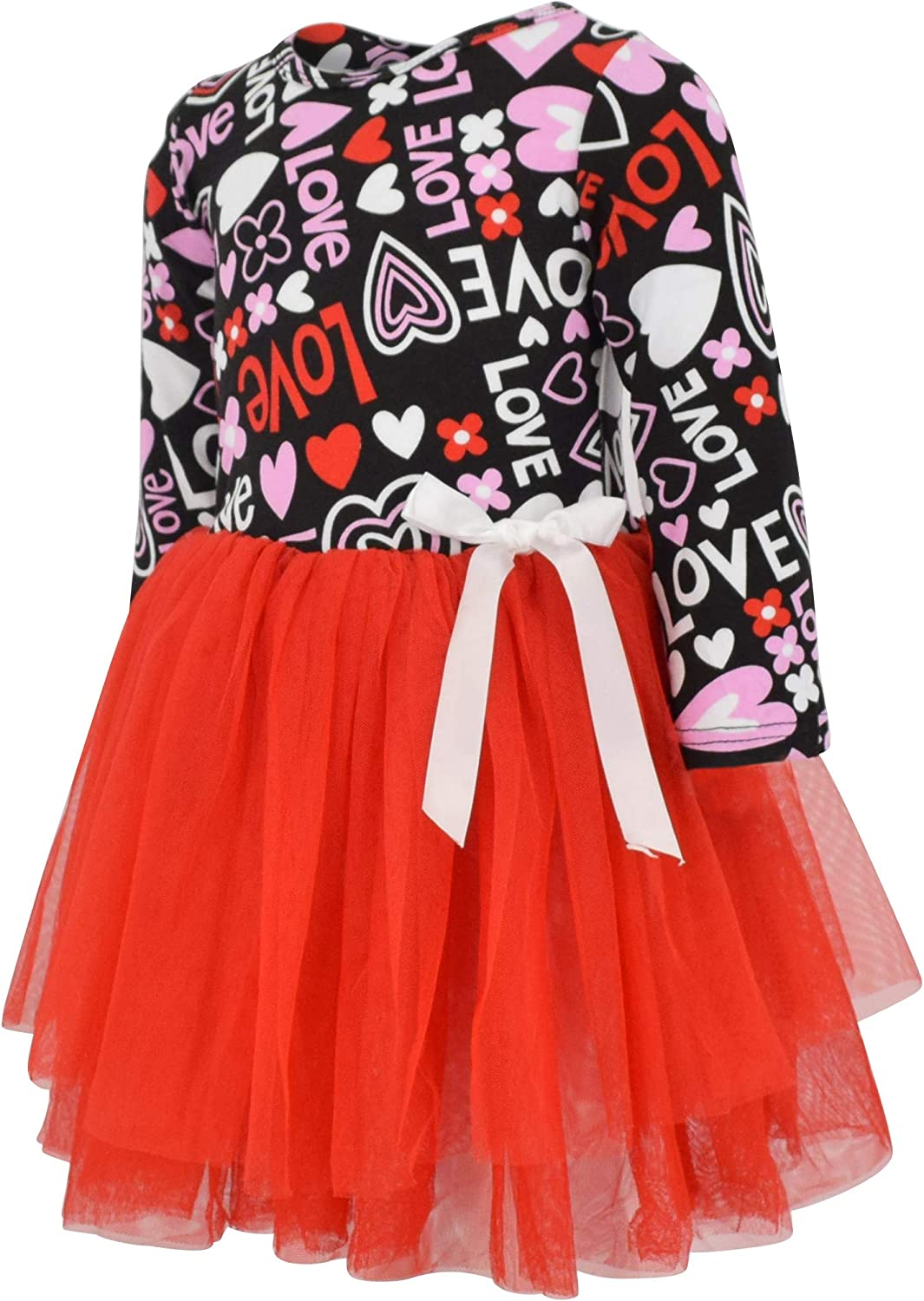 Toddler Girl Dress Baby Girl Valentines Day Dress Heart Love Print Black Splicing Red Mesh Tulle A-line Dress