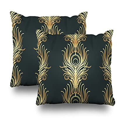 Art Deco Throw Pillows.Soopat Decorative Throw Pillow Cushion Cover 18 X18 Set Of 2 Art Deco Style Geometric Black Gold Roaring 1920 39 Jazz Era Inspired 20 Fabric Wrapping