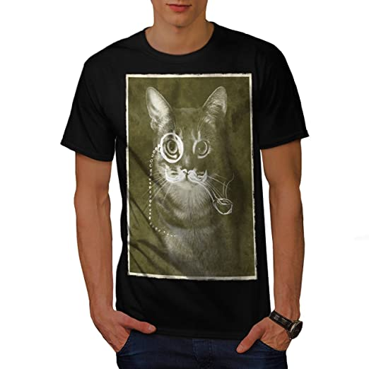 f6684a16b82 wellcoda Vintage Cat Photo Funny Mens T-Shirt, Pet Graphic Printed Tee  Black S