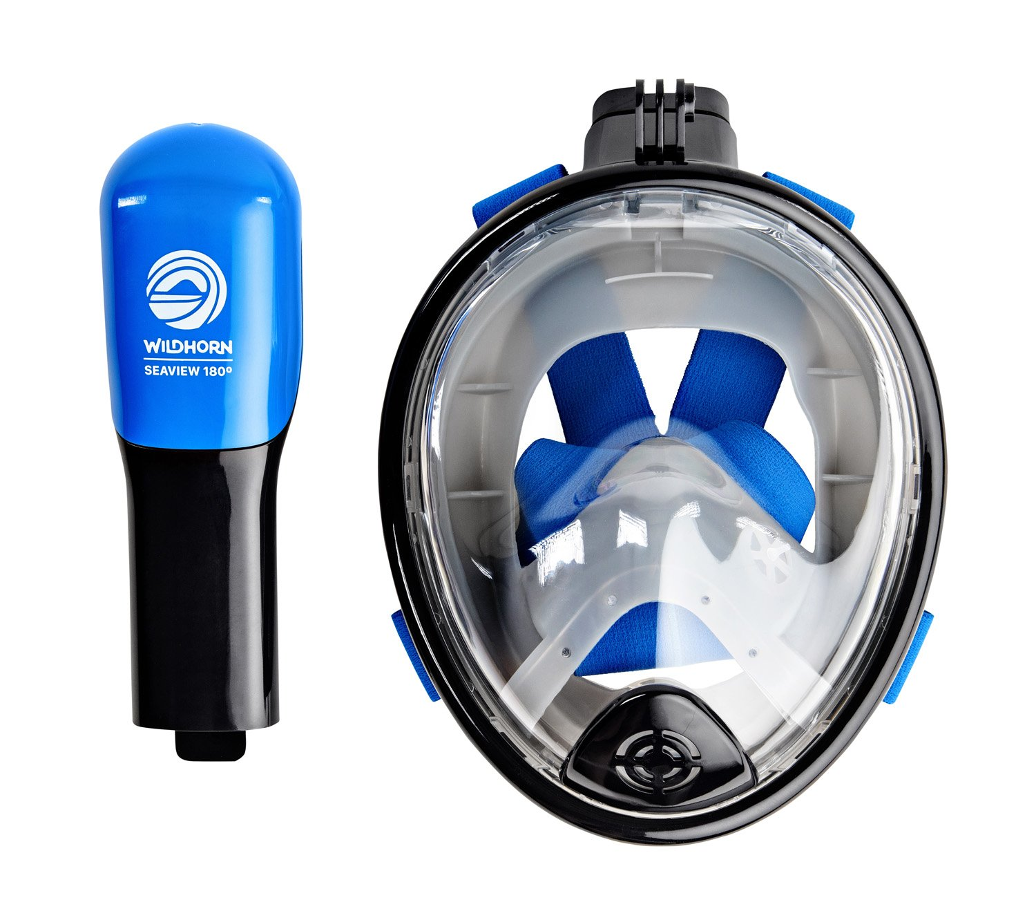 Seaview 180° GoPro Compatible Snorkel Mask- Panoramic Full Face Design. See More With Larger Viewing Area Than Traditional Masks. Prevents Gag Reflex with Tubeless Design (Navy, XS) by WildHorn Outfitters (Image #5)