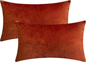 """Rythome Set of 2 Comfortable Rectangular Velvet Throw Pillow Cases, Decorative Lumbar Cushion Covers for Sofa Couch and Bed - 12""""x20"""", Rust"""
