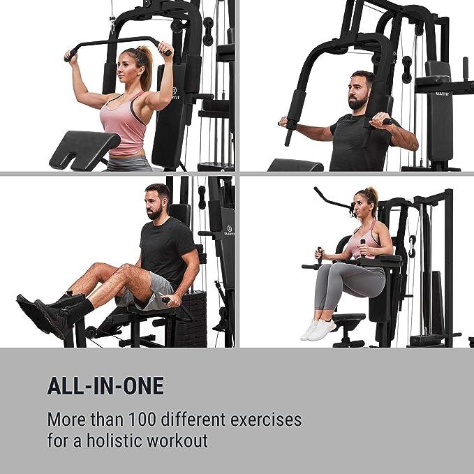 Klarfit Ultimate Gym 9000 • Multiestación de Fitness • 7 Estaciones • 100kg • Pila de Pesas • Acolchado • Entrenamiento simultáneo • Cable Acero • Negro: ...