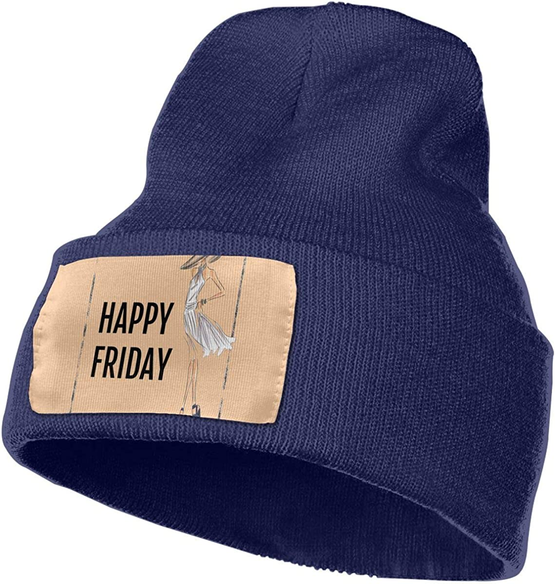 Happy Friday Time Hat for Men and Women Winter Warm Hats Knit Slouchy Thick Skull Cap