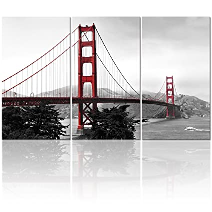 Visual Art Decor Modern Canvas Wall Art Black And White San Francisco Golden Gate Bridge Landscape Picture Giclee Prints For Living Room Decoration