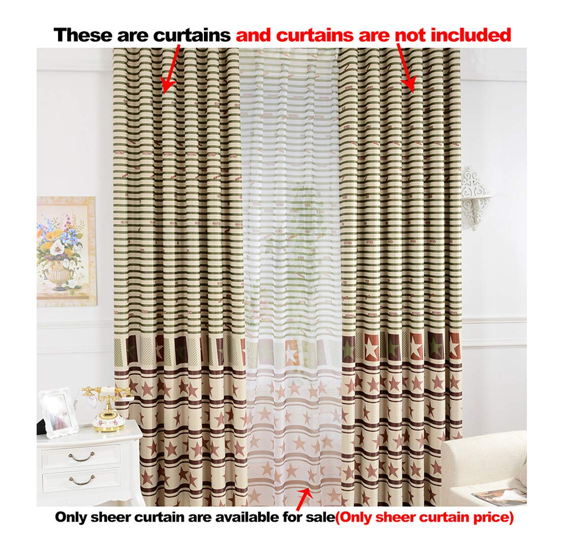 Aside Bside Permeable Window Decoration Rod Pocket Top Fashionable Style Striped Star Printed Sheer Curtains For Sitting Room Kitchen and Houseroom (1 Panel, W 52 x L 84 inch, Coffee)
