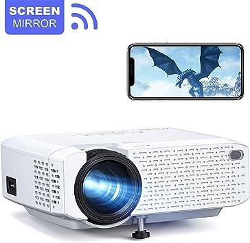 Crosstour Proyector WiFi Mini LED Proyector de cine en casa portátil Soporta Full HD Pantalla Espejo Inalámbrico Compatible con Teléfono Móvil/TV Box/HDMI/USB/VGA: Amazon.es: Electrónica