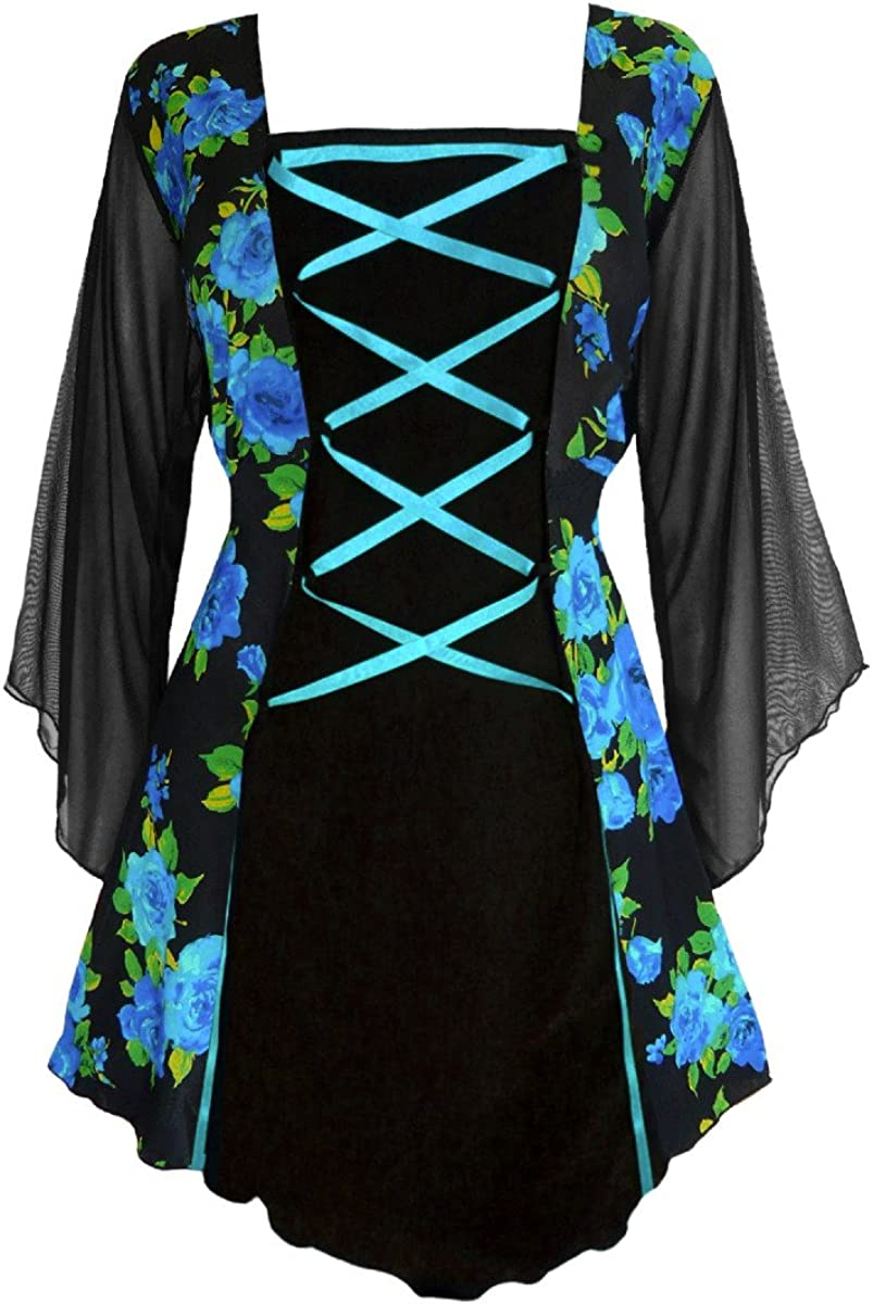 Dare to Wear Victorian Gothic Boho Women's Plus Size Mandarin Corset Top