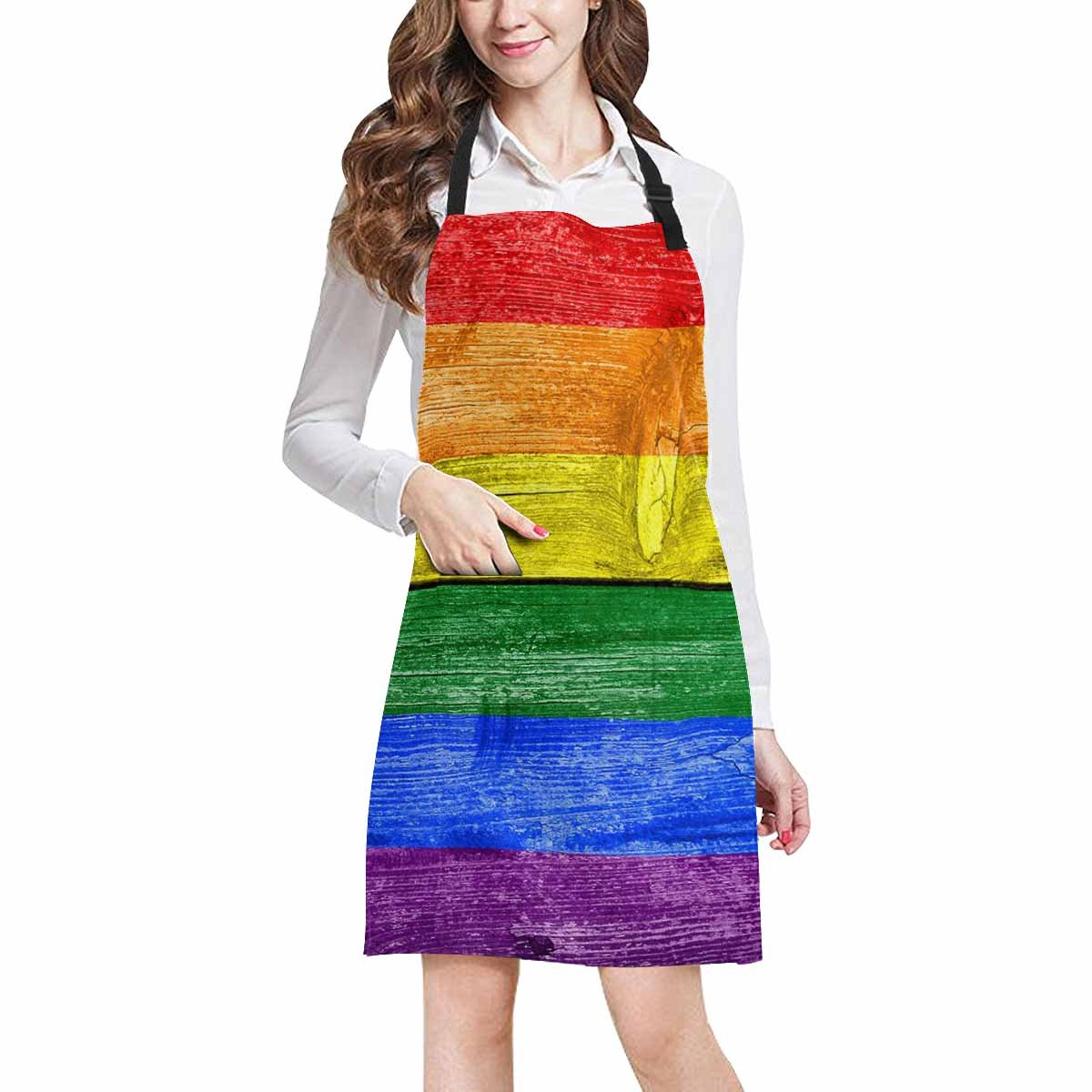 InterestPrint Funny Vintage Rainbow Wood Adjustable Bib Apron with Pockets - Commercial Restaurant and Home Kitchen Adjustable Apron, Plus Size