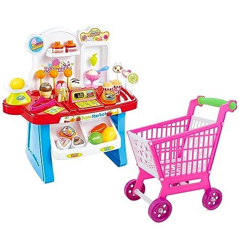 Lindos niños coloridos simulación mini mercado Checkstand fingir juguete PLAYSET juego de rol Toy Kit con un carrito de la compra