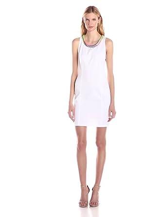 Amazon.com  Love Moschino Women s Embroidered Neck Sheath Dress ... 9b8e9e36324