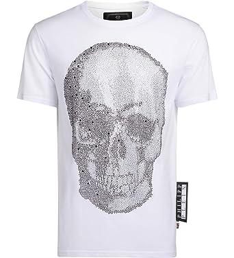 d8e737456bf Philipp Plein Men's Platinum Cut White T-Shirt with Rhinestones ...