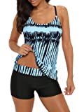 Century Star Tankini Swimsuits for Women Retro Bathing Suits Two Pieces Modest Swimming Wear Sports Tank Tops with Boyshorts