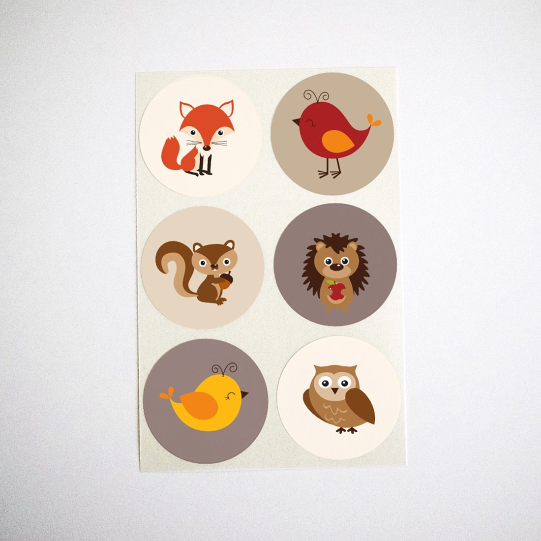 Autumn Woodland Animals Stickers by Once Upon Supplies, Round Envelope Seals, Cupcake Toppers, Favor Labels, 1.5'', 60 Stickers
