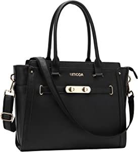 UMODA Laptop Totes for Women,15.6 Inches Multi Pocket Padded Laptop Tote Bag,Computer Bags for Women,Black