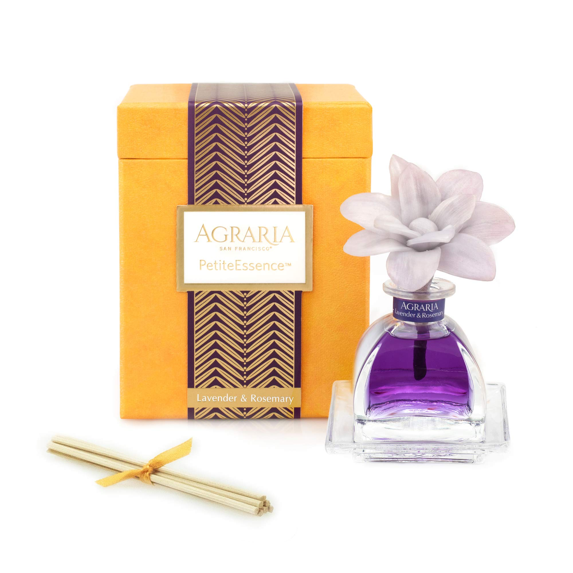 AGRARIA Lavender & Rosemary Scented PetiteEssence Diffuser, 1.7 Ounces with Reeds and a Flower by AGRARIA