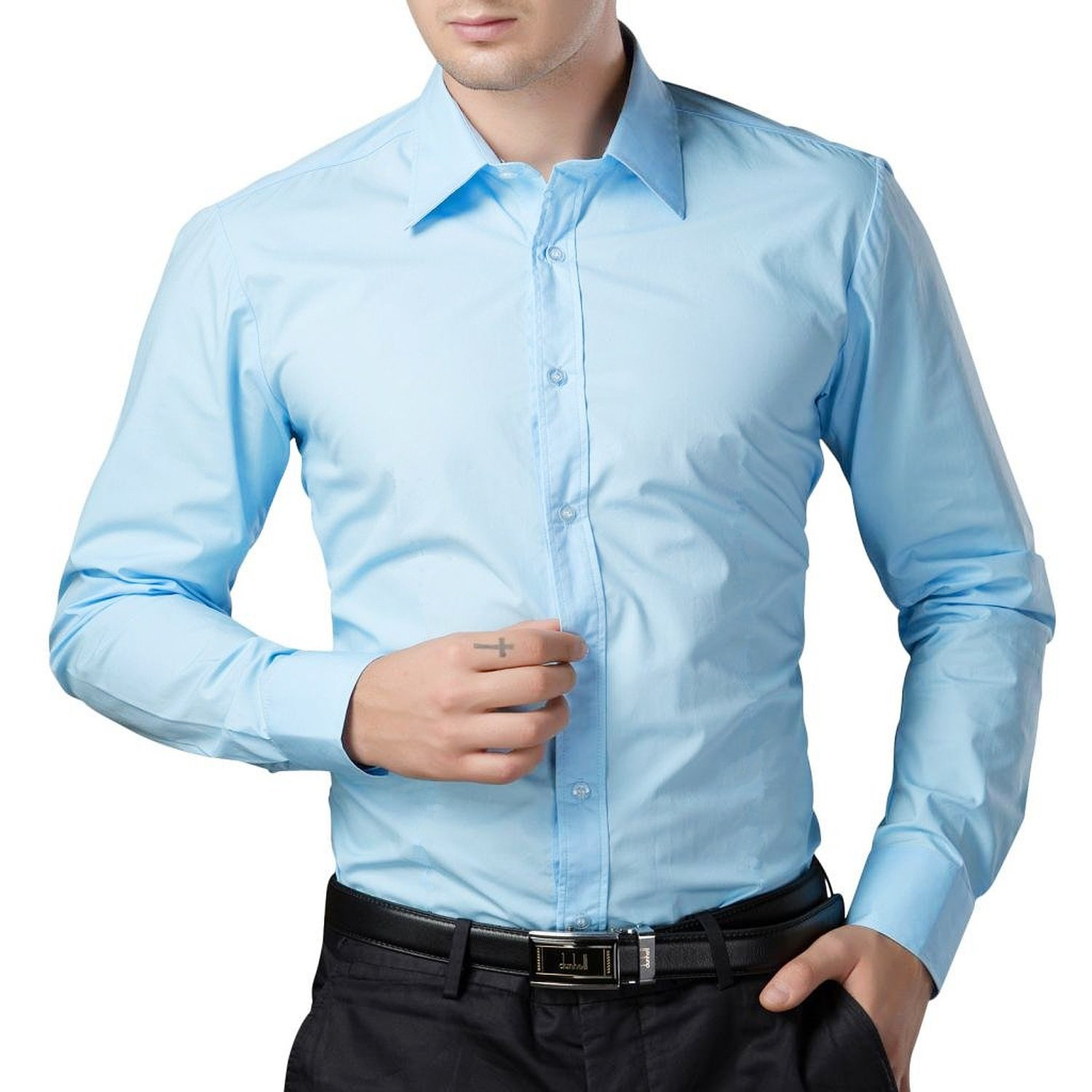 ae0e9d04d82a BEING FAB Men s Solid 100% Cotton Regular Fit Casual Black Shirt   Amazon.in  Clothing   Accessories