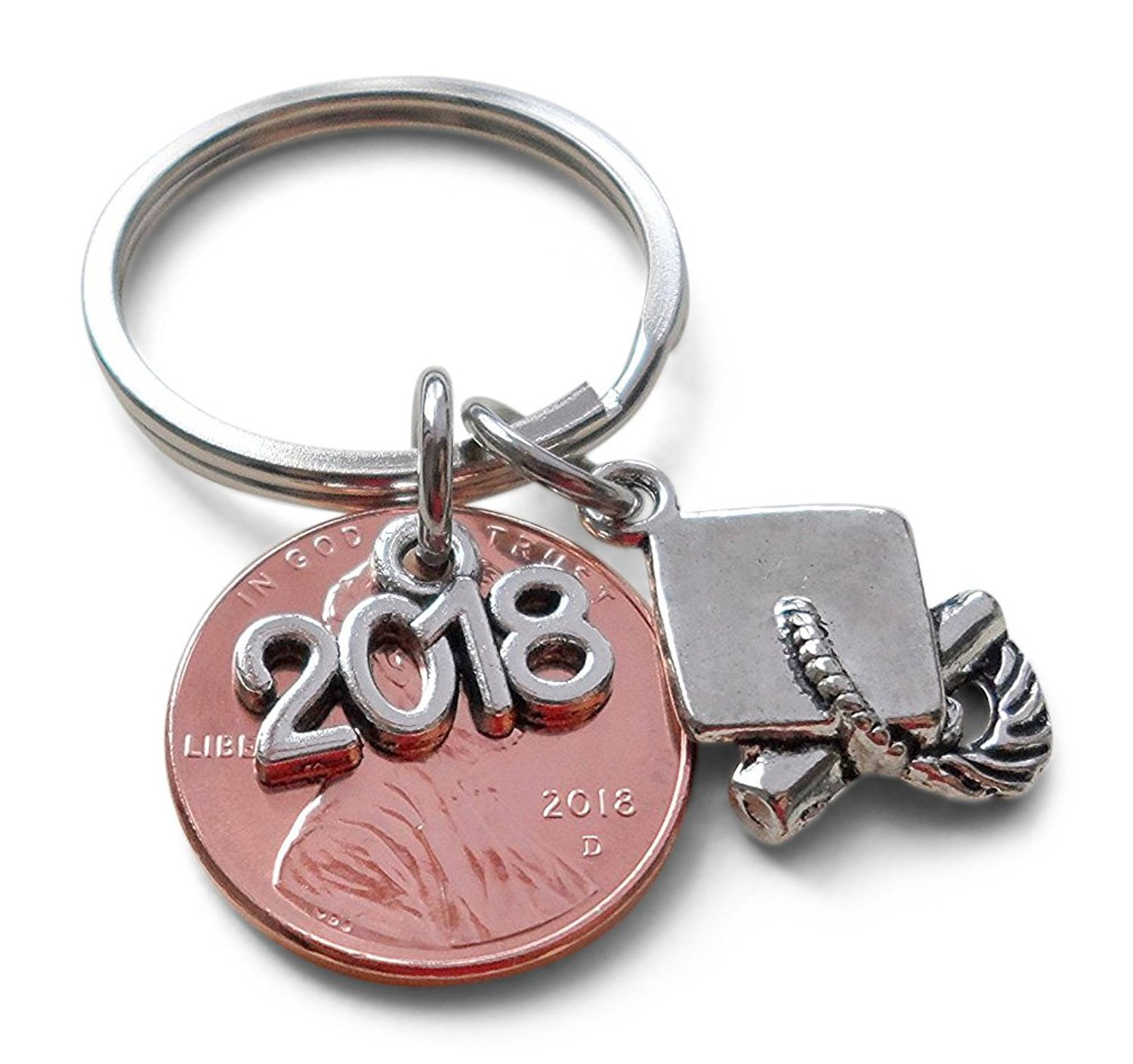 2018 Charm Layered Over 2018 Penny Keychain, Cap & Diploma Charm - Graduation Gift JewelryEveryday 32914000384