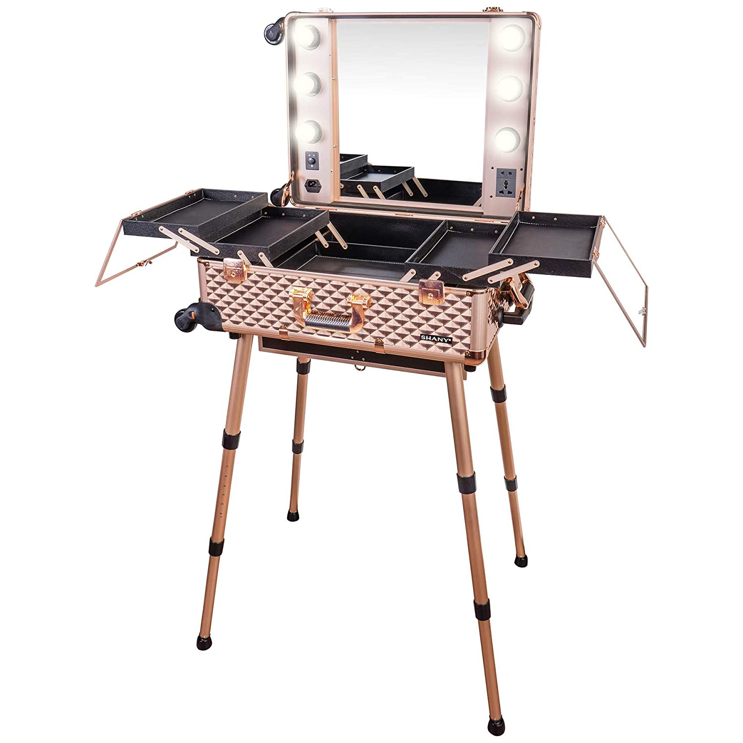 SHANY Studio ToGo Wheeled Trolley Makeup Case & Organizer with Light - ROSE GOLD