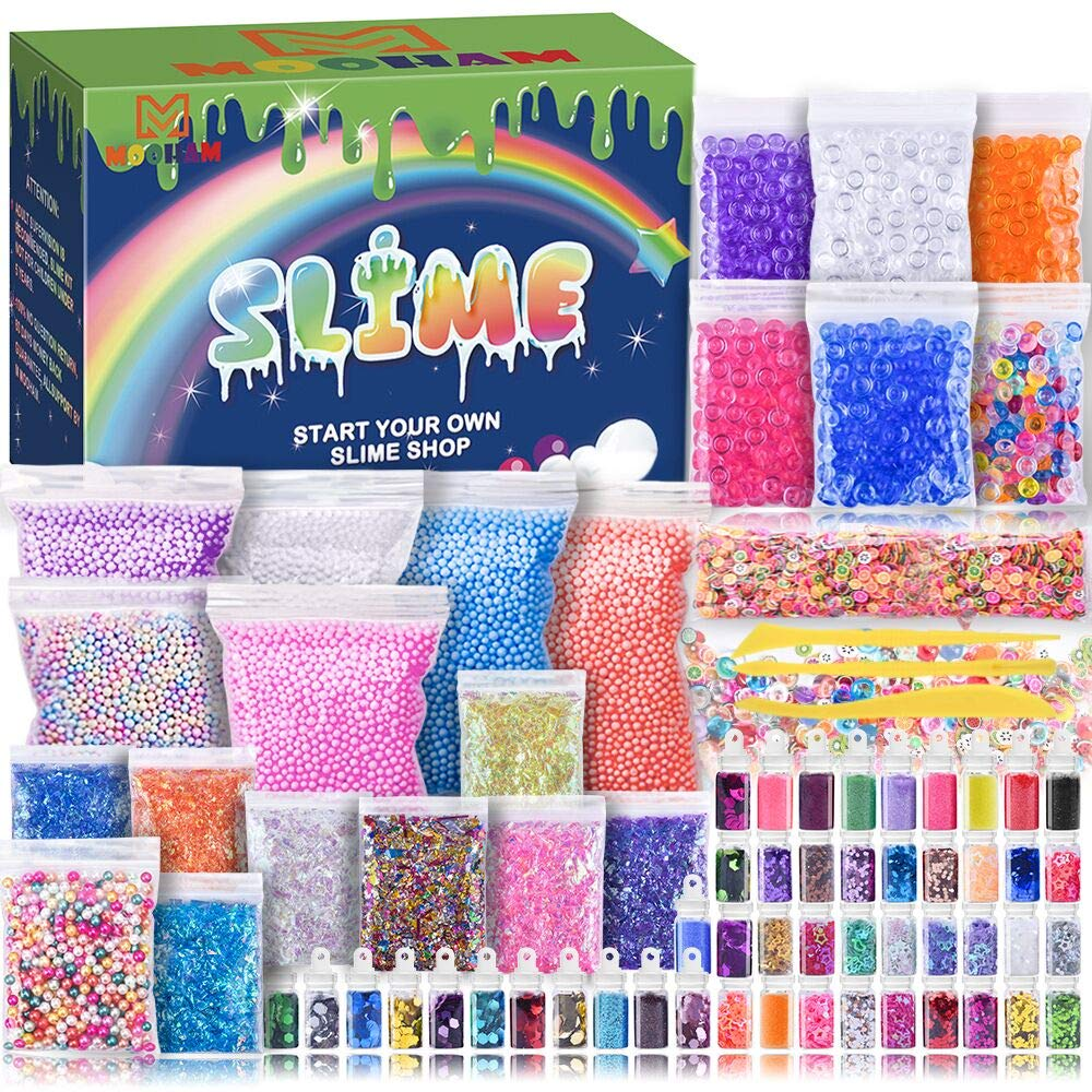 Slime Supplies Kit - Slime Stuff Charm Include Foam Balls, Fishbowl Beads, Glitter, Fruit Slices, Pearls, Slime Mylar Flake, Slime Containers for DIY Slime Making Kit, Girl Slime Party M MOOHAM