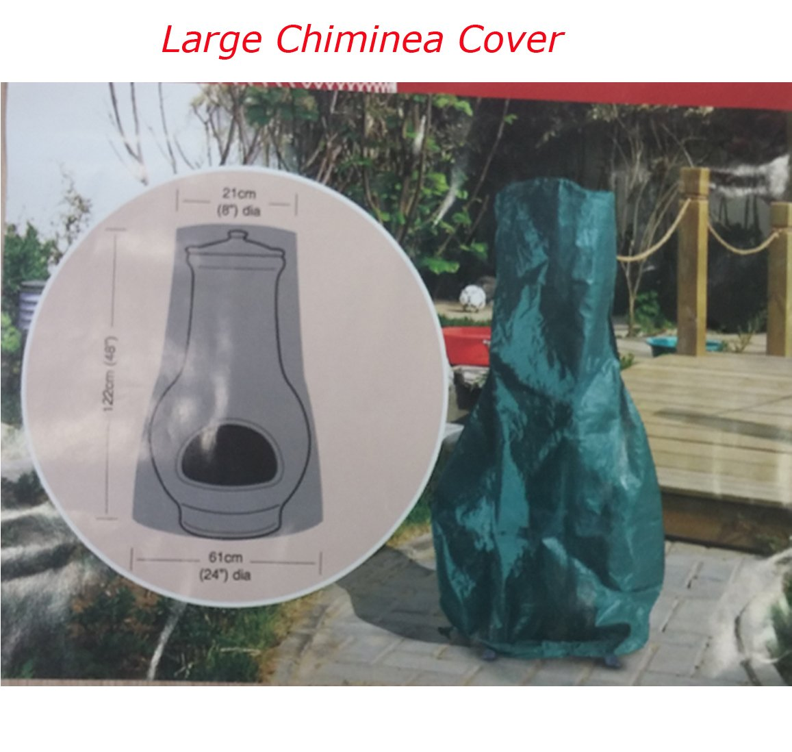 Large Fire Pit Cover Water Proof Resistant Chiminea cover Garden Patio Outdoor (Chiminea Cover) Denny International®