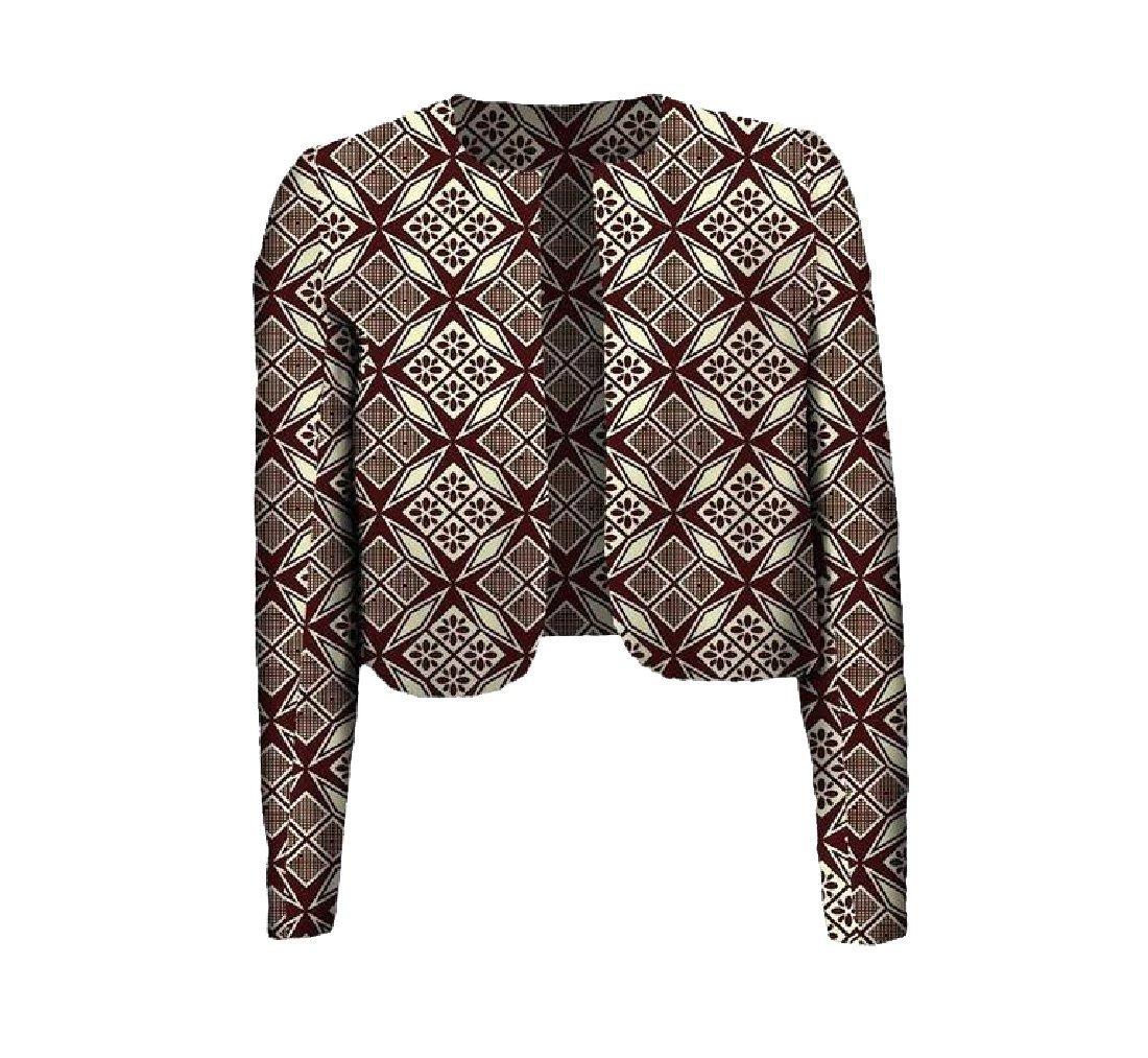 Fieer Women Coat Africa Batik Floral Print Crop Top Simple Cardigan 2 M by FieerWomen (Image #1)