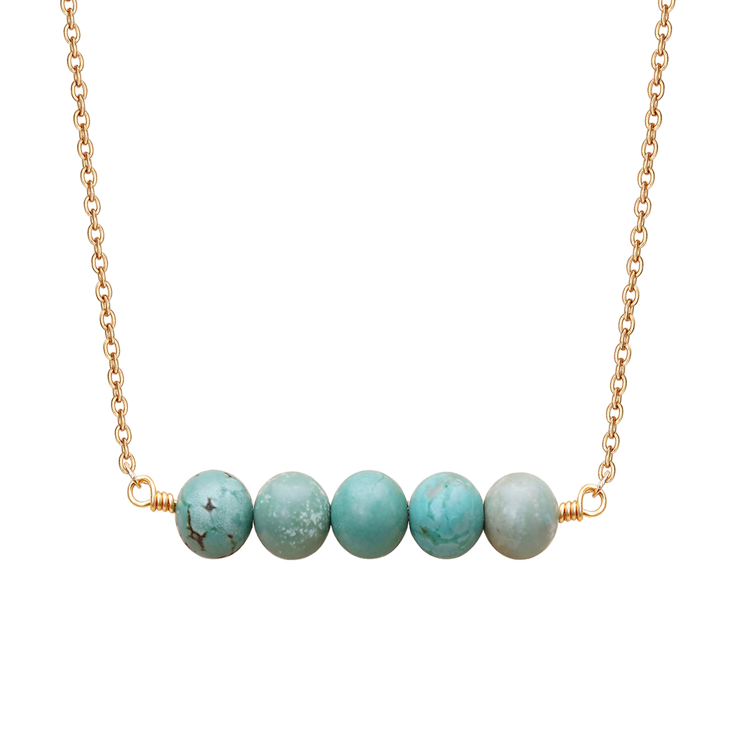 AUSIKA Adjustable Natural Turquoise Pendant Custom Necklace Choker with 20K Gold Plated Chain Jewelry for Women