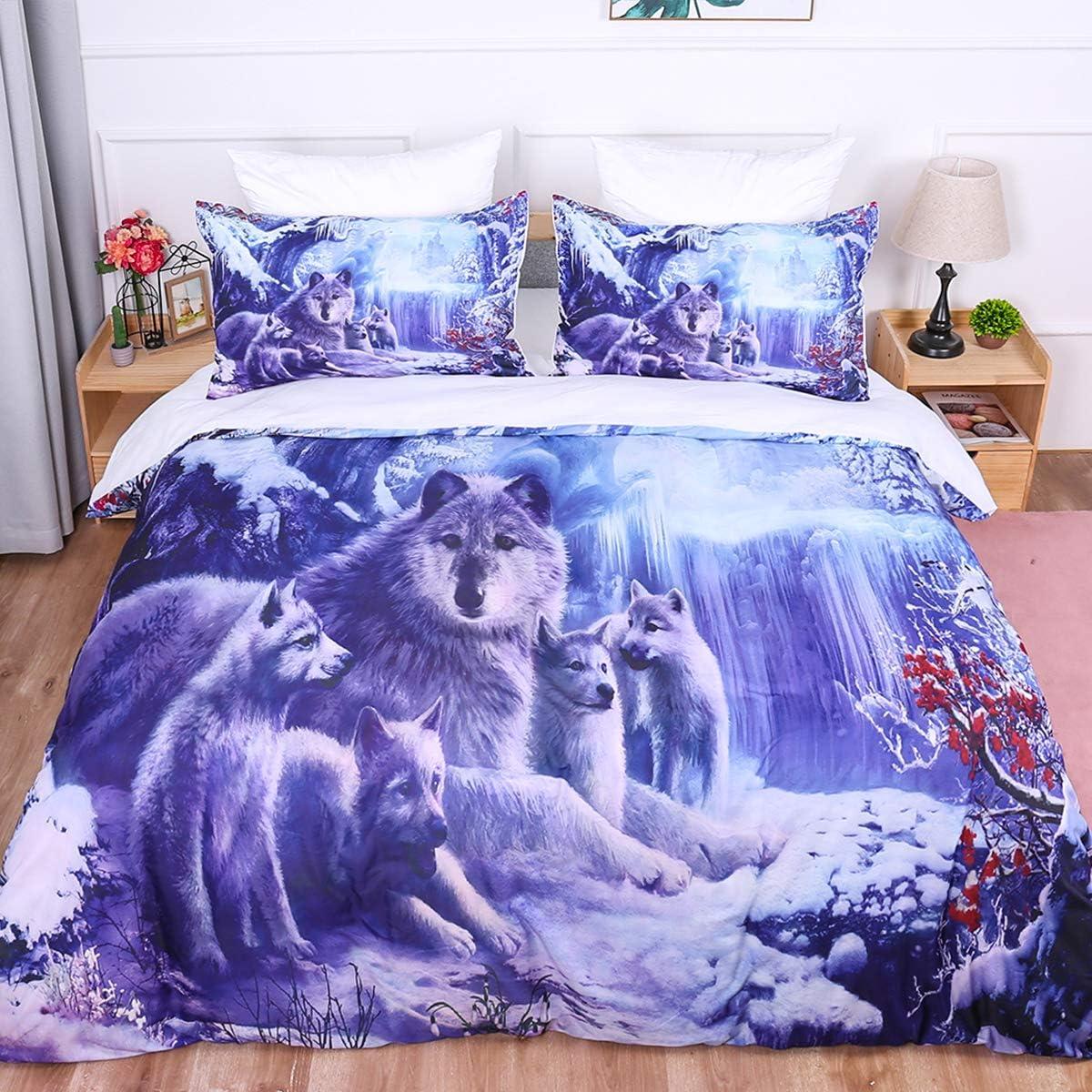 Juego de funda nórdica con estampado de edredón Snow Wolf 3D Animal Wolf Familia impresa con ropa de cama y cierre de cremallera para niños, niños, adultos, microfibra individual 140x200cm
