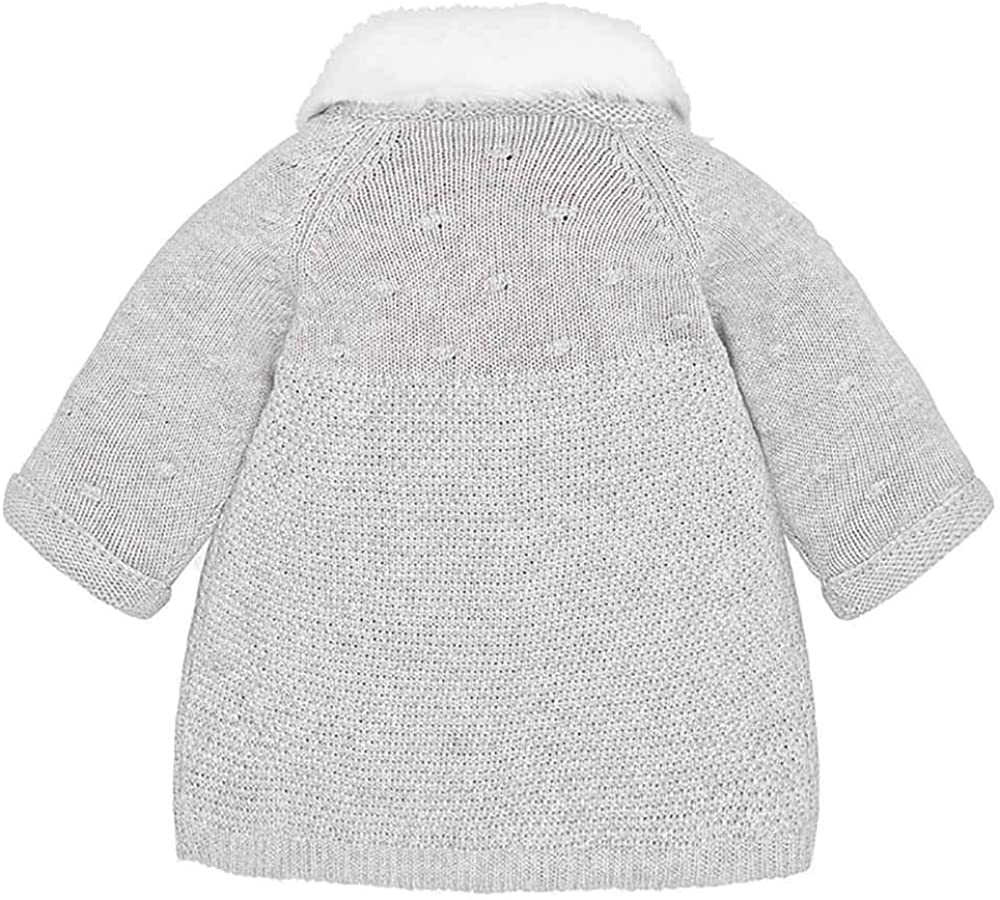 Mayoral Ice Silver Gray Knitted Coat with Detachable Fur Collar and Matching Bonnet